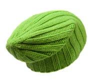 το καπέλο ανασκόπησης απ&omi καπέλο πλεκτό ανοικτό πράσινο καπέλο Στοκ Φωτογραφίες