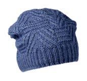 το καπέλο ανασκόπησης απ&omi καπέλο πλεκτό μπλε καπέλο Στοκ Εικόνα