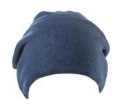το καπέλο ανασκόπησης απ&omi καπέλο πλεκτό μπλε καπέλο Στοκ Φωτογραφία