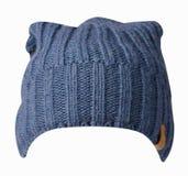 το καπέλο ανασκόπησης απ&omi καπέλο πλεκτό μπλε καπέλο Στοκ φωτογραφίες με δικαίωμα ελεύθερης χρήσης