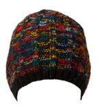 το καπέλο ανασκόπησης απ&omi καπέλο πλεκτό μπλε καπέλο Multicol Στοκ φωτογραφία με δικαίωμα ελεύθερης χρήσης