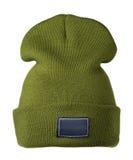 το καπέλο ανασκόπησης απ&omi καπέλο πλεκτό πράσινο καπέλο Στοκ εικόνα με δικαίωμα ελεύθερης χρήσης