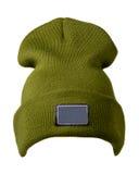 το καπέλο ανασκόπησης απ&omi καπέλο πλεκτό πράσινο καπέλο Στοκ εικόνες με δικαίωμα ελεύθερης χρήσης
