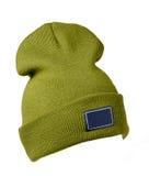 το καπέλο ανασκόπησης απ&omi καπέλο πλεκτό πράσινο καπέλο Στοκ φωτογραφία με δικαίωμα ελεύθερης χρήσης
