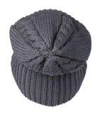 το καπέλο ανασκόπησης απ&omi καπέλο πλεκτό σκούρο μπλε καπέλο Στοκ φωτογραφίες με δικαίωμα ελεύθερης χρήσης