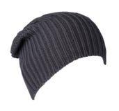 το καπέλο ανασκόπησης απ&omi καπέλο πλεκτό σκούρο μπλε καπέλο Στοκ Φωτογραφία
