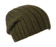 το καπέλο ανασκόπησης απ&omi καπέλο πλεκτό σκούρο πράσινο καπέλο Στοκ Φωτογραφία