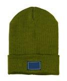 το καπέλο ανασκόπησης απ&omi πλεκτό πράσινο καπέλο καπέλων Στοκ φωτογραφία με δικαίωμα ελεύθερης χρήσης