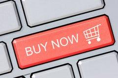 Το κατάστημα αγοράζει on-line τώρα την επιχειρησιακή έννοια Στοκ Εικόνα