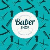 Το κατάστημα κουρέων ή το υπόβαθρο κομμωτών θέτει με hairdressing το ψαλίδι, βούρτσα ξυρίσματος, ξυράφι, χτένα για το διάνυσμα σα διανυσματική απεικόνιση