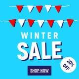 Το κατάστημα χειμερινής πώλησης κουμπώνει τώρα Στοκ φωτογραφία με δικαίωμα ελεύθερης χρήσης