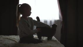 Το καταθλιπτικό αγκάλιασμα μικρών κοριτσιών teddy αντέχει απόθεμα βίντεο