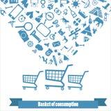 Το καταναλωτικό καλάθι Στοκ φωτογραφίες με δικαίωμα ελεύθερης χρήσης