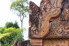 Το καταπληκτικό κάστρο Bayon ναών αρχαίο, Angkor Thom, Siem συγκεντρώνει, ασβέστιο Στοκ Φωτογραφία