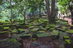 Το καταπληκτικό κάστρο Bayon ναών αρχαίο, Angkor Thom, Siem συγκεντρώνει, ασβέστιο Στοκ Εικόνες