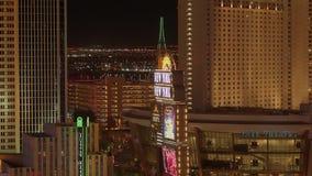 Το καταπληκτικό Λας Βέγκας τή νύχτα - οι χαρτοπαικτικές λέσχες στη λουρίδα - ΗΠΑ 2017 απόθεμα βίντεο