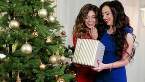 Το καταπληκτικό δώρο Χριστουγέννων, κορίτσια γιορτάζει το κόμμα του ευτυχούς, έκπληκτου, νέου έτους του νέου έτους, εξετάζει ένα  φιλμ μικρού μήκους