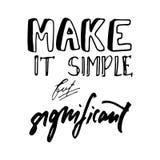 Το καταστήστε απλό αλλά σημαντικό Συρμένο χέρι γράμμα Τ γραφικό Τυπογραφική αφίσα τυπωμένων υλών Στοκ φωτογραφία με δικαίωμα ελεύθερης χρήσης