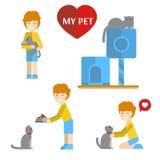 το κατοικίδιο ζώο μου καθορισμένο διάνυσμα απεικόνισης στοιχείων Κορίτσι και γάτα Διανυσματική απεικόνιση