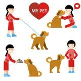 το κατοικίδιο ζώο μου Κορίτσι και σκυλί Ελεύθερη απεικόνιση δικαιώματος