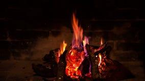 Το καυσόξυλο που καίει στην εστία απόθεμα βίντεο