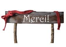 Το καφετί απομονωμένο σημάδι Merci Χριστουγέννων σημαίνει ότι σας ευχαριστήστε, κόκκινη κορδέλλα Στοκ Εικόνα