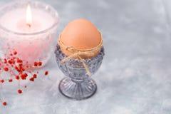 Το καφετί αυγό Πάσχας σε ένα φλυτζάνι κρυστάλλου blueish, καίγοντας ρόδινο κερί, τρυφερό κόκκινο ελατήριο ανθίζει Στοκ Εικόνα