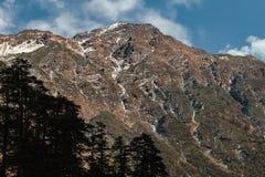 Το καφετί βουνό με το χιόνι στην κορυφή είναι υπόβαθρο στην κοιλάδα Thangu και Chopta το χειμώνα σε Lachen Βόρειο Sikkim, Ινδία Στοκ Φωτογραφίες