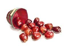 Το καλάθι των μήλων ανέτρεψε έξω με τις σκιές Στοκ εικόνα με δικαίωμα ελεύθερης χρήσης