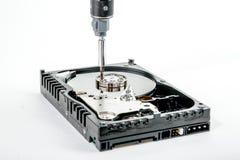 Το καλλιεργημένο κατσαβίδι ξεβιδώνει το σφιγκτήρα της μηχανής των ανοικτών 3 5 ίντσα HDD Στοκ Φωτογραφίες