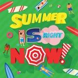 Το καλοκαίρι είναι αυτή τη στιγμή αφηρημένη διανυσματική κάρτα ή ελεύθερη απεικόνιση δικαιώματος