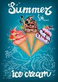 Το καλοκαίρι είναι αφίσα παγωτού με τη θάλασσα διανυσματική απεικόνιση