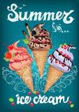 Το καλοκαίρι είναι αφίσα παγωτού με το σημάδι ελεύθερη απεικόνιση δικαιώματος