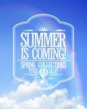 Το καλοκαίρι είναι ερχόμενη αφίσα, συλλογές άνοιξης πώλησης διανυσματική απεικόνιση