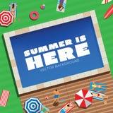 Το καλοκαίρι είναι εδώ αφηρημένη διανυσματική υπόβαθρο ή κάρτα ελεύθερη απεικόνιση δικαιώματος