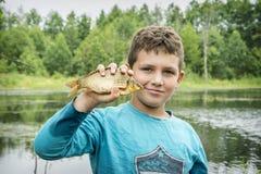 Το καλοκαίρι σε μια αλιεία λίγο boyl επίασε έναν μεγάλο κυπρίνο Στοκ εικόνα με δικαίωμα ελεύθερης χρήσης