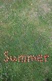 Το καλοκαίρι του Word που συλλαβίζουν στις φράουλες Στοκ εικόνα με δικαίωμα ελεύθερης χρήσης