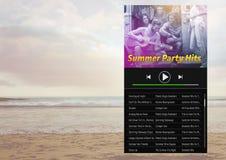 Το καλοκαίρι φορέων μουσικής χτυπά App τη διεπαφή Στοκ φωτογραφία με δικαίωμα ελεύθερης χρήσης