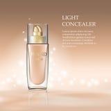 Το καλλυντικό προϊόν concealer γεμίζει στο πρότυπο εμπορευματοκιβωτίων μπουκαλιών γυαλιού Πρότυπο Makeup για τις αγγελίες ή το υγ Στοκ φωτογραφία με δικαίωμα ελεύθερης χρήσης