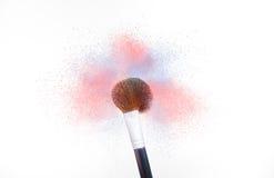 Το καλλυντικό χρώμα σκόνης βουρτσών αυξήθηκε χαλαζίας και ηρεμία Στοκ Εικόνες