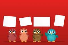 Το καλό πολύχρωμο owlet κρατά τις κενά σελίδες και το κενό για το κείμενό σας Στοκ Εικόνα