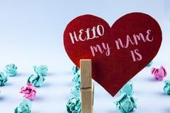 Το κείμενο γραφής γειά σου το όνομά μου είναι Έννοια που σημαίνει τη συνεδρίαση κάποιος τη νέα παρουσίαση συνέντευξης εισαγωγής π Στοκ Φωτογραφία