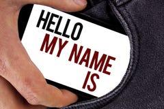 Το κείμενο γραφής γειά σου το όνομά μου είναι Έννοια που σημαίνει τη συνεδρίαση κάποιος νέα παρουσίαση συνέντευξης εισαγωγής που  Στοκ φωτογραφία με δικαίωμα ελεύθερης χρήσης