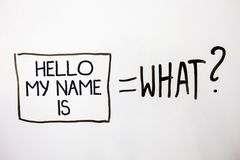 Το κείμενο γραφής γειά σου το όνομά μου είναι Η έννοια έννοιας εισάγεται συνεδρίαση κάποιος νέα παρουσίαση που τα άσπρα μηνύματα  Στοκ Φωτογραφία