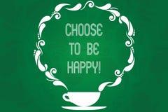 Το κείμενο γραφής επιλέγει να είναι ευτυχές Η έννοια έννοιας αποφασίζει την ύπαρξη σε ένα καλό smiley διάθεσης που εύθυμος ευτυχή διανυσματική απεικόνιση