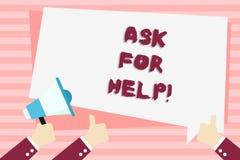 Το κείμενο γραφής ζητά τη βοήθεια Έννοια που σημαίνει τις δυνάμεις χρήσης που παίρνουν εντελώς την υποστήριξη από την παρουσίαση  διανυσματική απεικόνιση