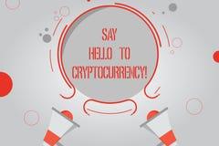 Το κείμενο γραφής λέει γειά σου σε Cryptocurrency Έννοια που σημαίνει εισάγοντας την αποκεντρωμένη ανταλλαγή δύο χρημάτων Megapho απεικόνιση αποθεμάτων