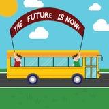 Το κείμενο γραφής το μέλλον είναι τώρα Έννοια που σημαίνει το νόμο για να λάβει σήμερα τι θέλετε αύριο δύο παιδιά μέσα διανυσματική απεικόνιση