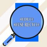 Το κείμενο γραφής μειώνει την επαναχρησιμοποίηση ανακύκλωσης Έννοια που σημαίνει το environmentallyresponsible μεγάλο πιό magnifi διανυσματική απεικόνιση