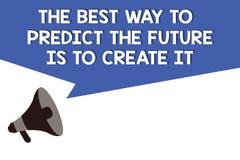 Το κείμενο γραφής ο καλύτερος τρόπος να προβλεφθεί το μέλλον πρόκειται να το δημιουργήσει Η έννοια που σημαίνει το σχέδιο και αρχ απεικόνιση αποθεμάτων